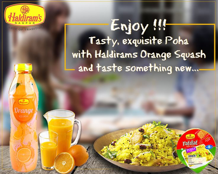 Enjoy #HaldiramsFatafatPoha with #HaldiramsOrangeSquash ......http://www.haldirams.com/namkeen/fatafat-poha.html