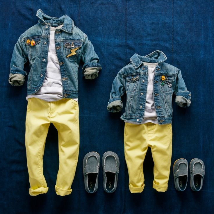 Boys' fashion | Toddler fashion | Kids' clothes | Denim jacket | Striped tee | Colored chinos | Slip-on shoes | The Children's Place