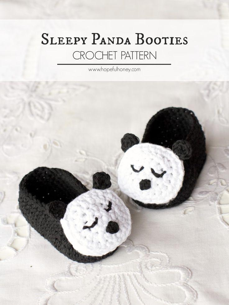 Sleepy Panda Baby Booties - Free Crochet Pattern