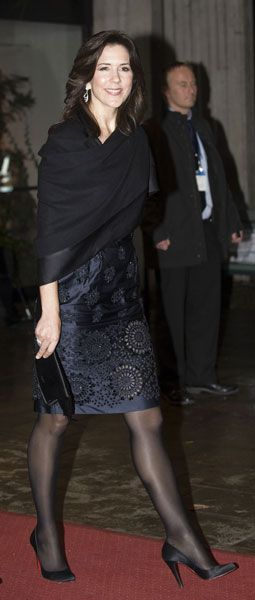 Crown Princess Mary of Denmark - black hosiery and black shoes