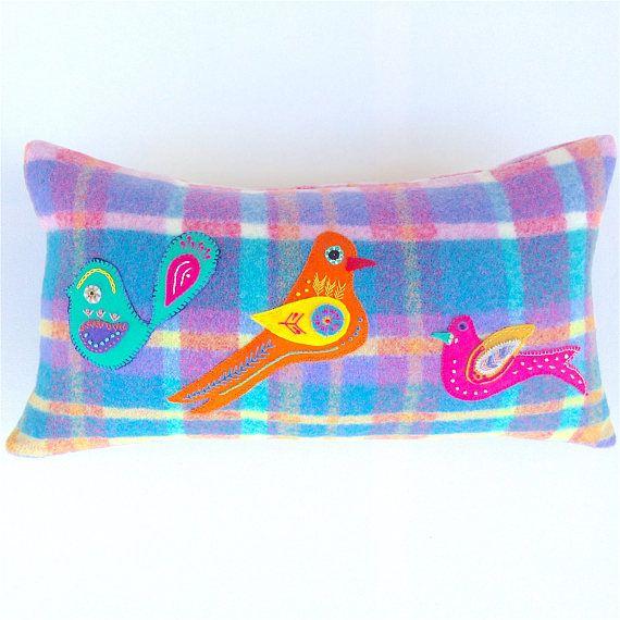 Hand Embroidered Birds Cushion Cover. Wool Felt Birds. Plaid