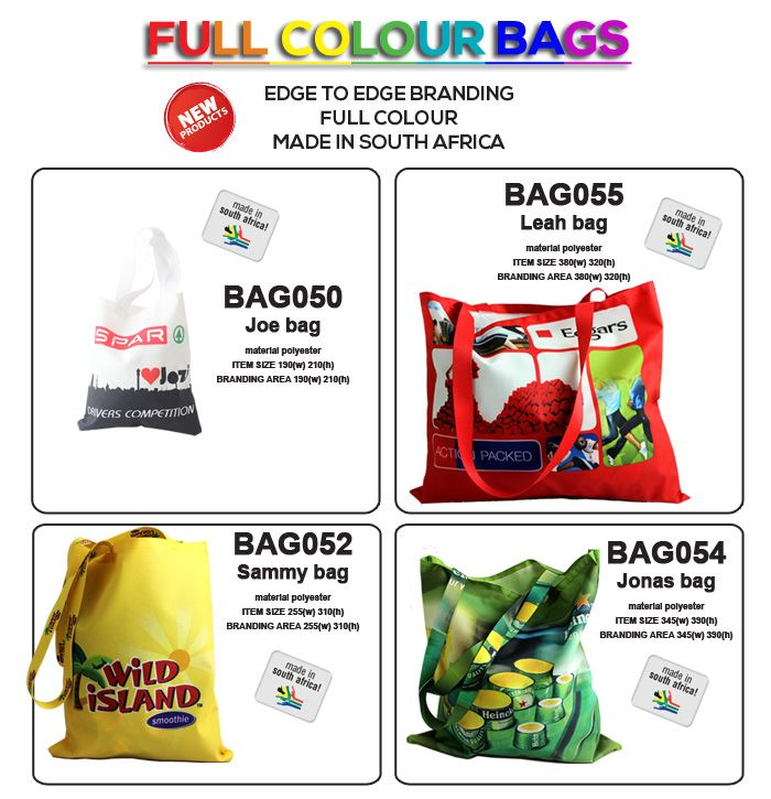 Full colour bags with edge to edge print -made in South Africa . Fantastic advertising:) www.lindajacobspromotions.co.za