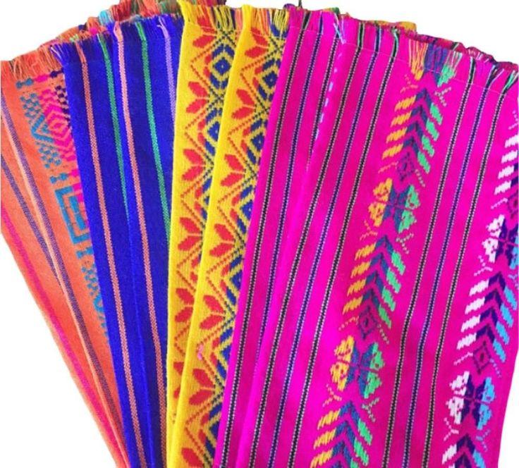 Mexican Fabric napkins, Bulk Set of 6 tribal assorted