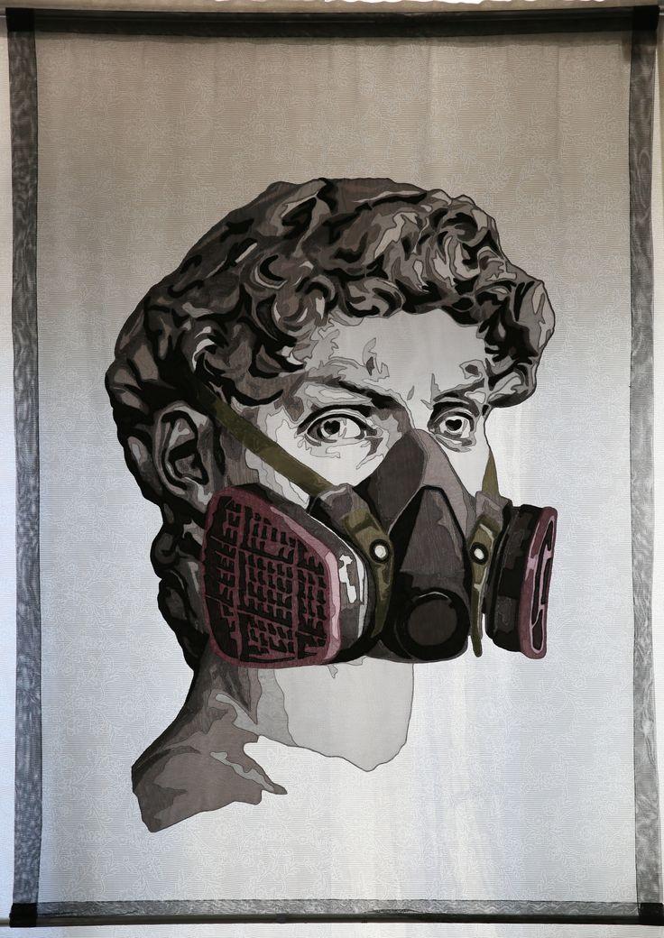 Ahu AKKAN,  Maskeli II / Masked II, 2015, Aplike Tül  / Applique Tulle, 190x140cm.