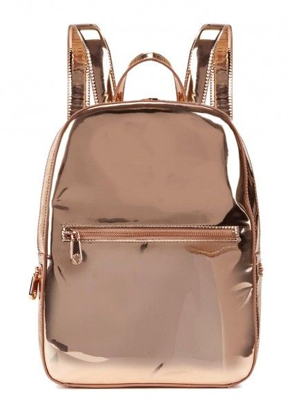 Rose gold leather backpack