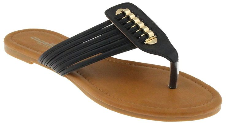 Capelli New York Ladies Flip Flops Faux Leather Multi Strap * Want to know more, click on the image.