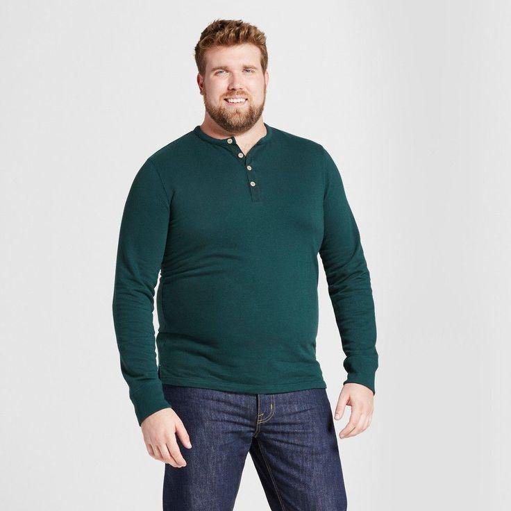 Men's Big & Tall Standard Fit Long Sleeve Micro-Waffle Henley Shirt - Goodfellow & Co Green 5XBT