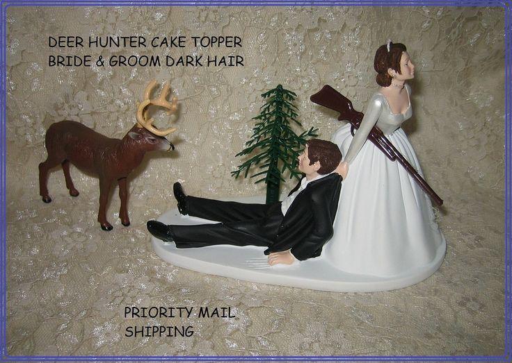 Redneck Wedding Humorous Deer Hunter Hunting Cake Topper Bride And Groom  Dark Hair. $59.99,