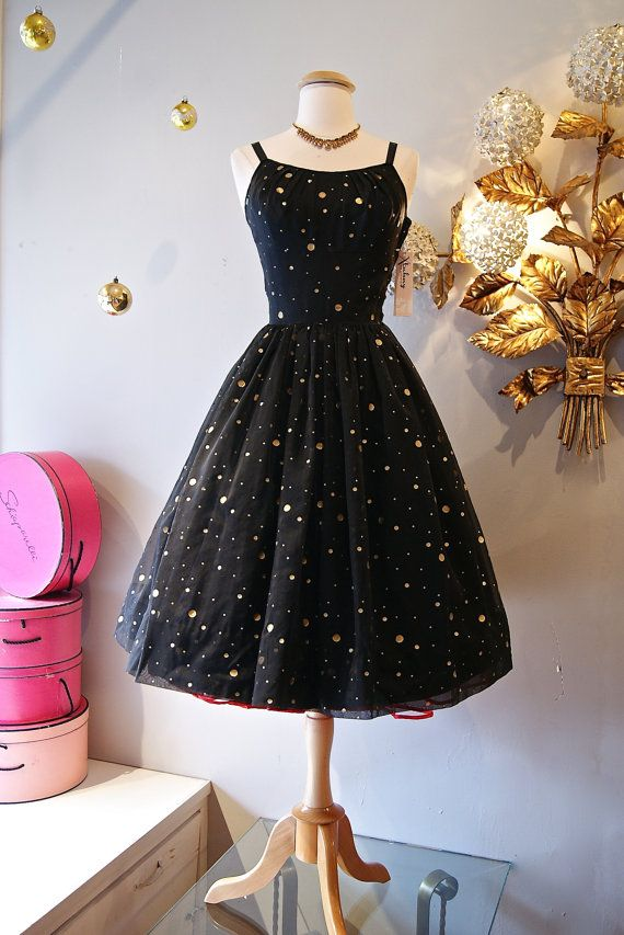 Alright, someone needs to snap this up before new years because this is a perfect party dress - Vintage 1950s Gold Polka Dot Party by xtabayvintage, $248.00