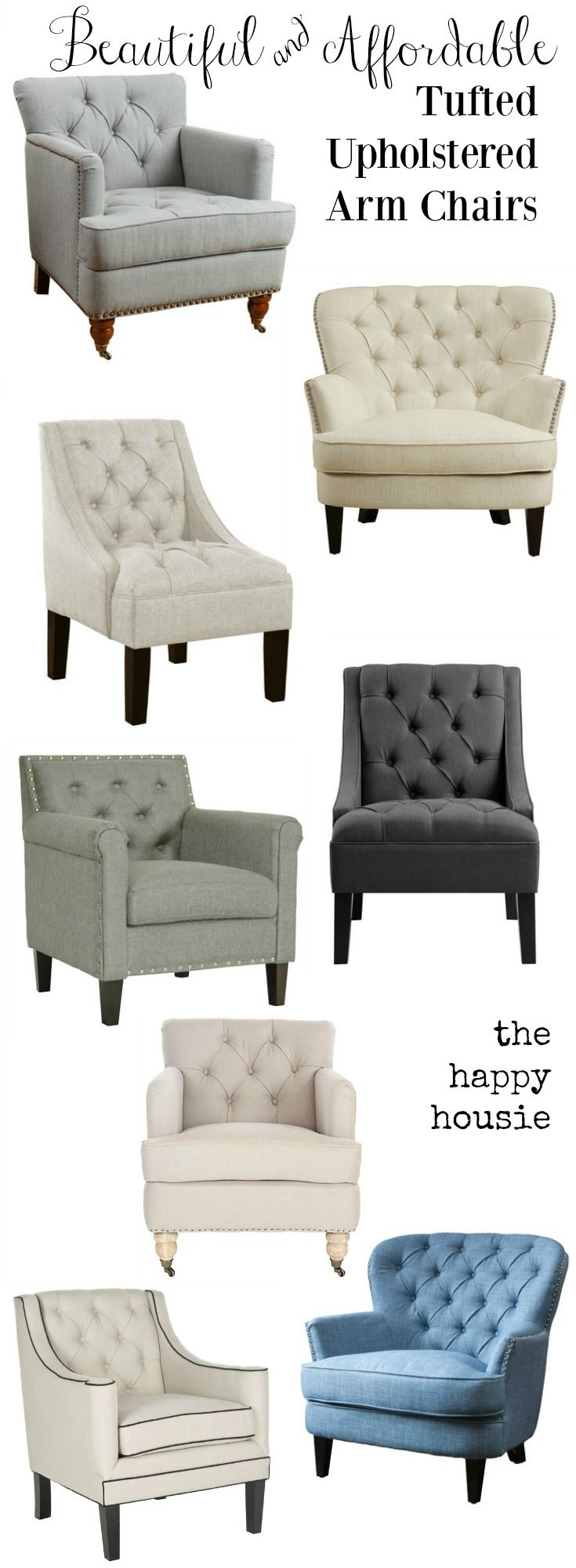 Beautiful and affordable tufted upholstered arm chairs