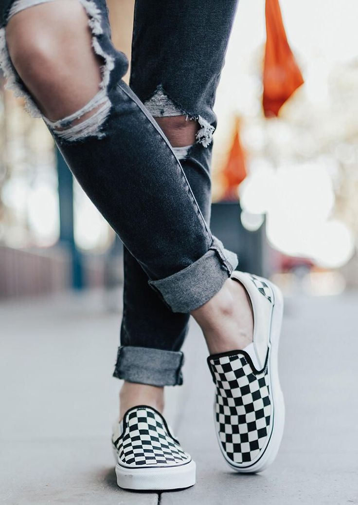 Zbshoes Plaid Slip-On Round Toe Flat Sneakers Zbshoes.com   Vans ...