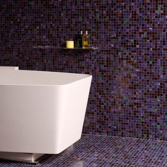 Divine Renovations Glass Mosaic Tiles Floor To Ceiling Purple Mosaic