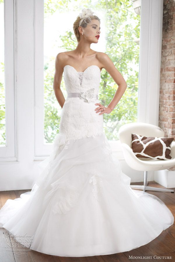 moonlight couture spring 2013 strapless fit flare wedding dress h1217