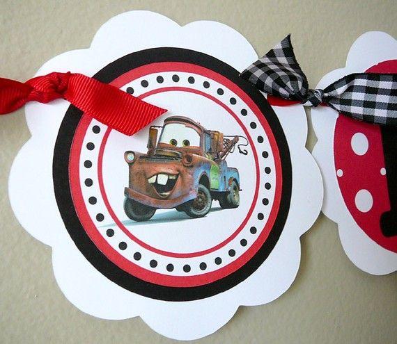 Disney Cars Birthday Party HAPPY BIRTHDAY Banner by farmerbaby, $28.00