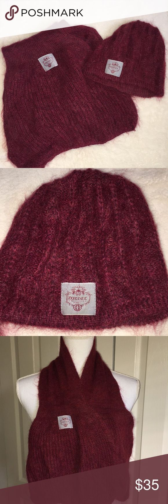 Diesel Mohair Scarf and Hat Set Gorgeous Diesel set a scarf and matching hat in a beautiful deep red with hints of purple in it. Never worn- stored and moved to a warm climate. Any questions are welcome ! Diesel Accessories Scarves & Wraps