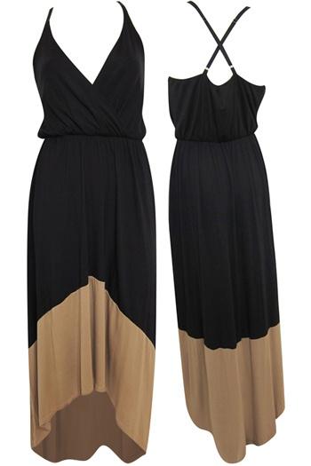 Black & Camel Maxi Dress from Pitaya