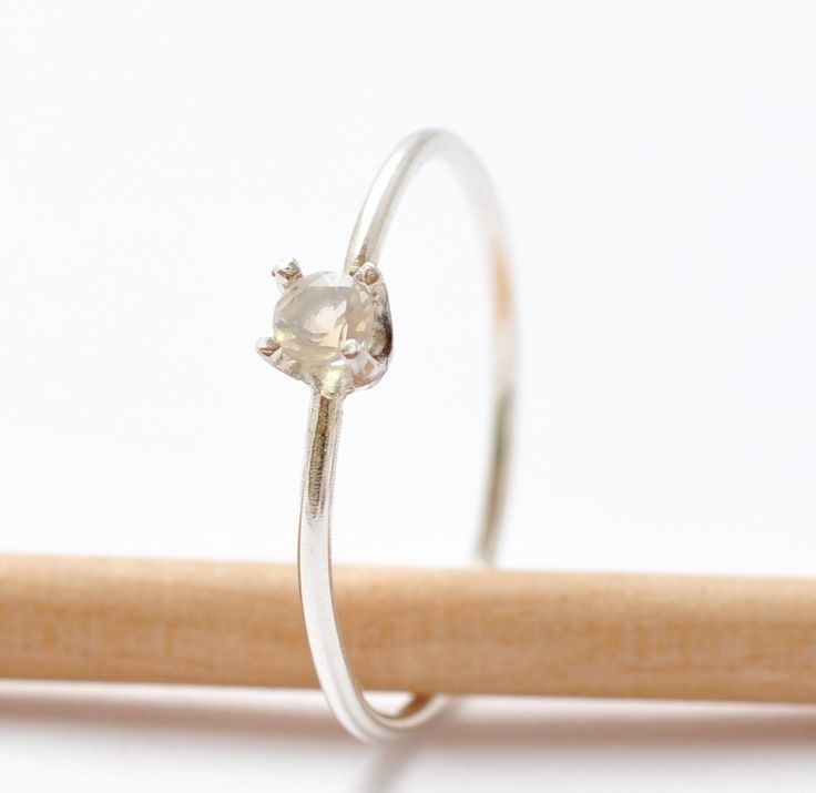 Promise Ring Opal White Stone Promise Ring by BlueRidgeNotions, $46.00