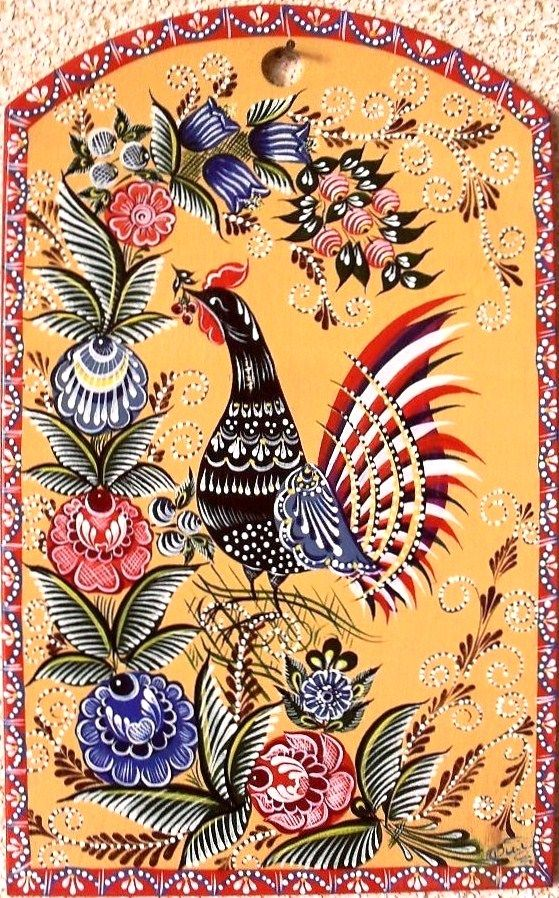 Wooden chopping board decorated with folk Gorodets painting from Russia. Floral…