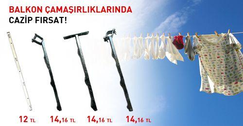 Balkon çamaşırlıklarında cazip fırsat! 12 tl 'den başlayan fiyatlarla http://proalet.com/camasir-askiliklari