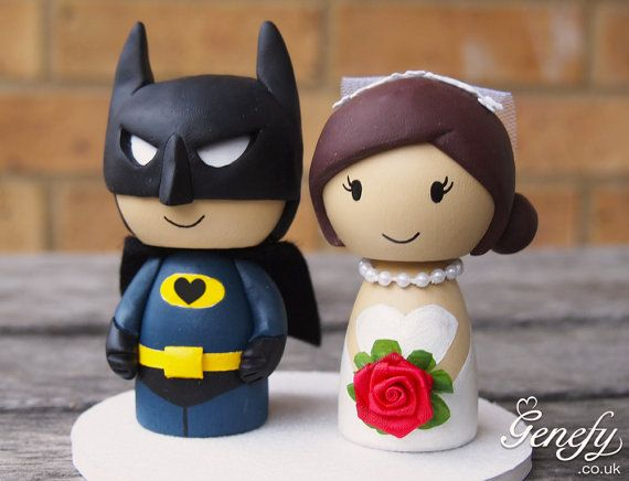 Cute superhero wedding cake topper  Bat Groom by GenefyPlayground **kinda looks like kayleigh hah