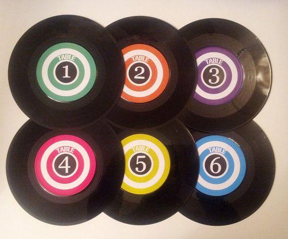 Retro Vintage Style Mod Wedding Table Numbers - Vinyl Record
