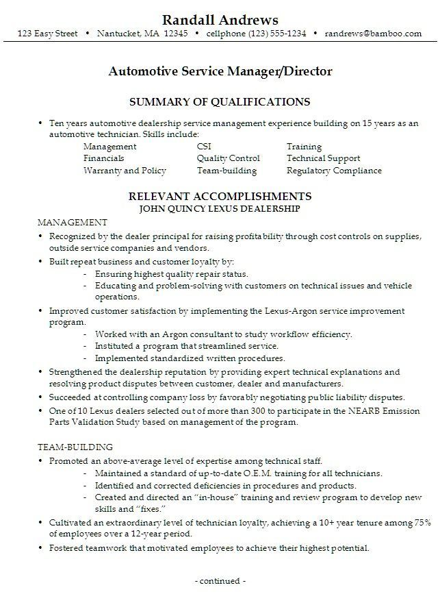 Resume Examples Manager 2014 Bing