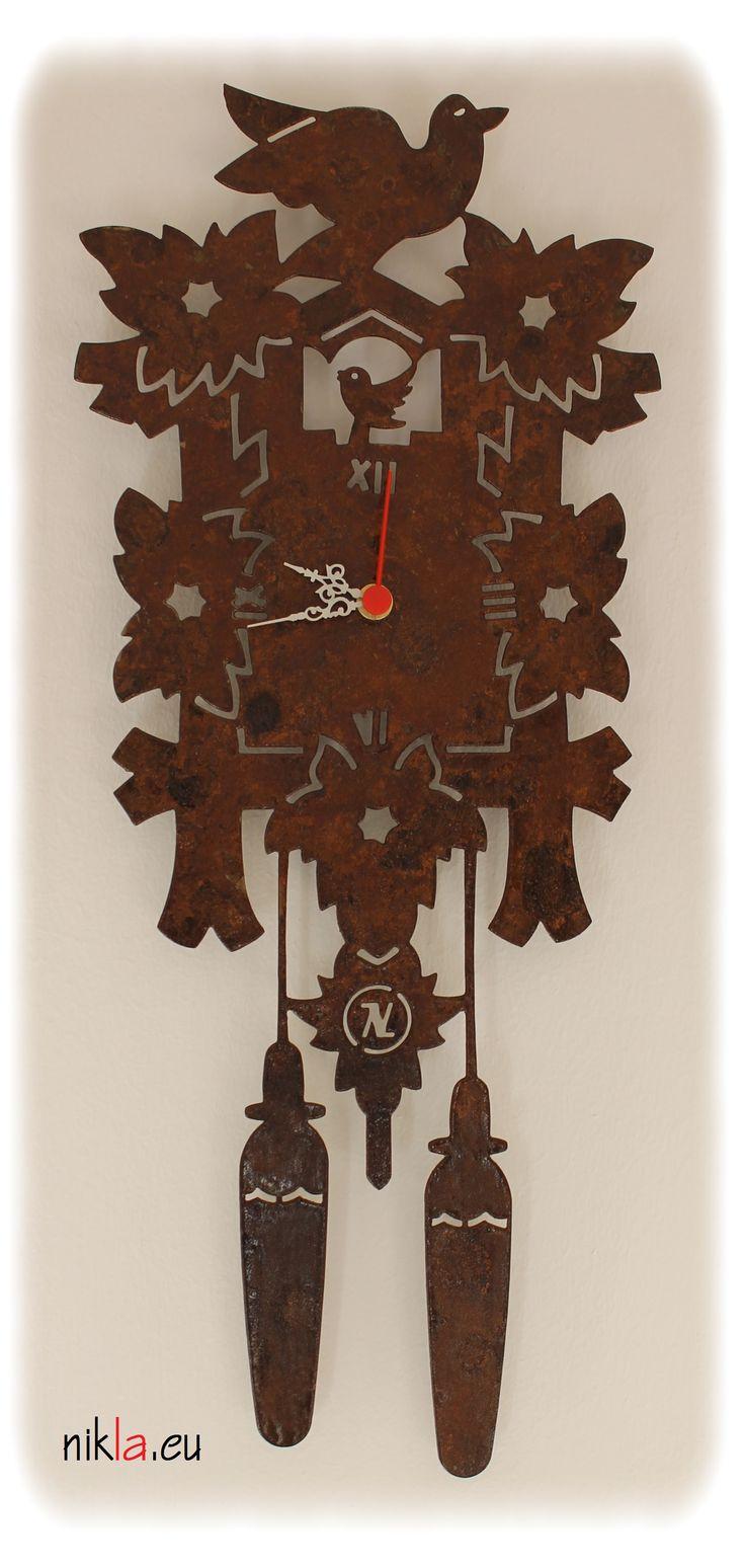 Orologio in ferro da parete di grandi dimensioni 500x200mm KUKU' By NIKLA STEEL DESIGN. Prodotto dal design moderno e originale.