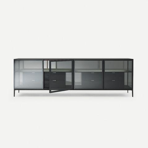 Alambra Rimadesio system and bookshelf www.spaziomateriae.com  struttura alluminio nero e cassetti in rovere nero, rivestimento interno in cuoio rigenerato castoro. Ante in vetro trasparente grigio, spalle e schienale in vetro riflettente grigio