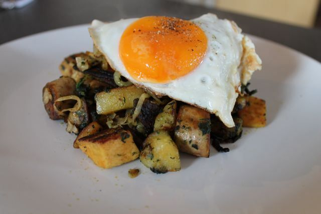 Potato, Spinach and Quorn Breakfast Hash