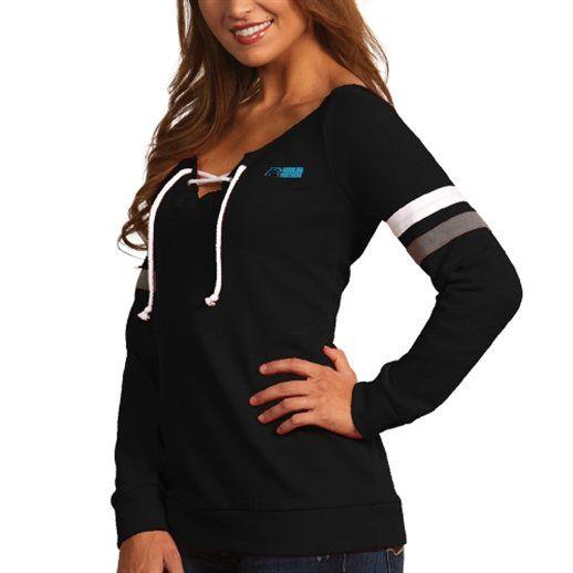 Antigua Carolina Panthers Women's Black Foxy Lace-Up Sweatshirt
