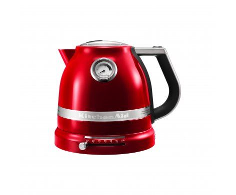 The KitchenAid Pro Line Series 1.5L Electric Kettle in Candy Apple Red.  It's fast, powerful and quietly boils water in minutes. Easily adjust the temperature for your perfect cup.