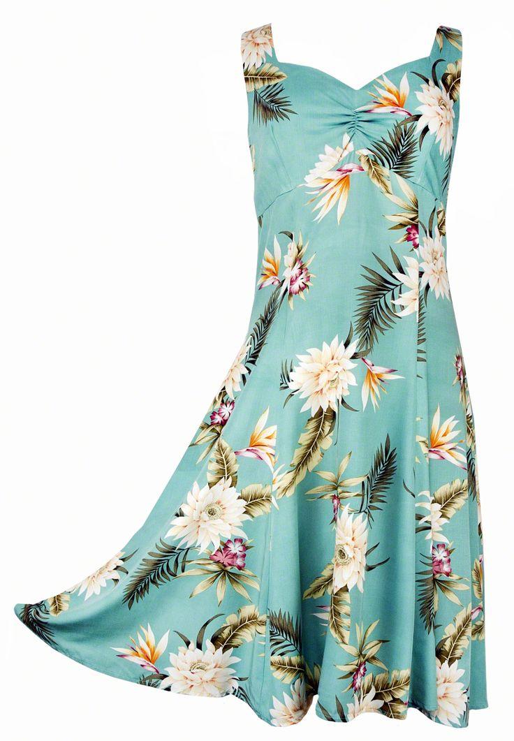 Ceres - Tropical Hawaiian Print Sun Dress - Green (Rayon), Sun Dress - Tropical Hawaiian Dresses, 804R-Ceres-Green - Paradise Clothing Company