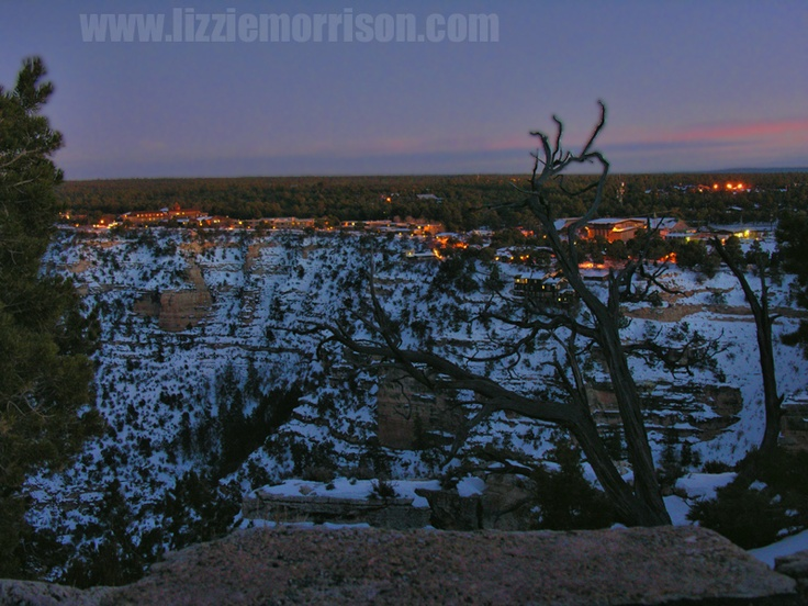 El Tovar Hotel and grand canyon village at dusk