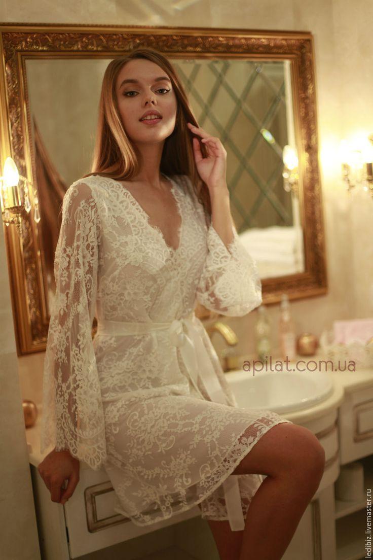 Купить Короткий кружевной халат с шелковой подкладкой D4 - белый, шелк, натуральный шелк, халат