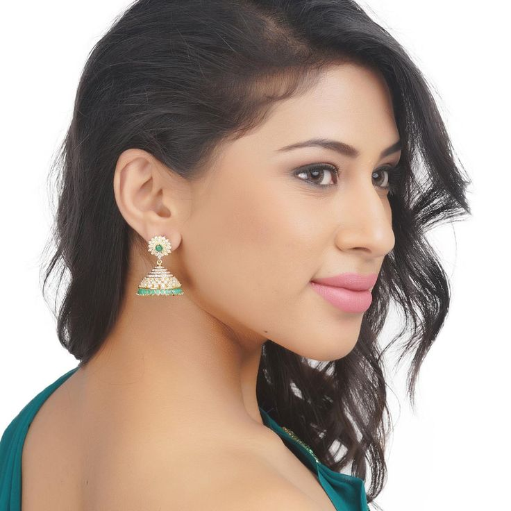 Zircon Earring 51176GR #Kushals #Jewellery #Fashion #Indian #Jewellery #Earrings #Designer #Jhumkis #modern #unique