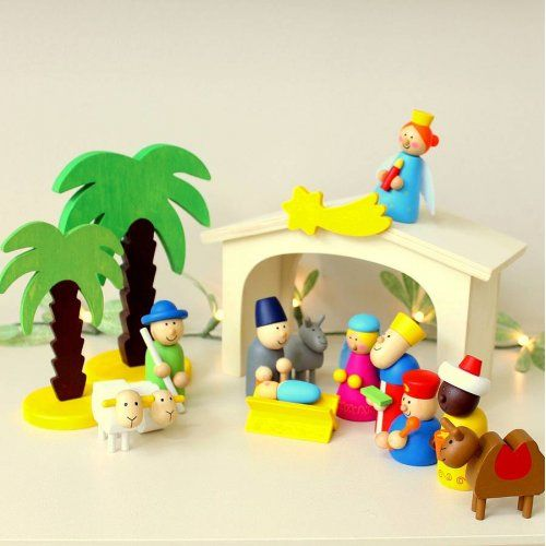 Christmas Wooden Nativity Set available online at Little Boo-Teek! Boutique online store - for the little kid with BIG personality!