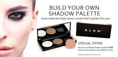 ELES Mineral Makeup - Google+  Put your favourite eye shadow pans in one palette and enjoy shifting from one look to another with the ELES Creative Colour System Compact! Select three eye shadow inserts, create the triple colour combo that's perfect for you and receive the refillable shadow palette for FREE.  http://bit.ly/eles-customised-eye-shadow #ELES #cosmetics #makeup #eyeshadow #beauty