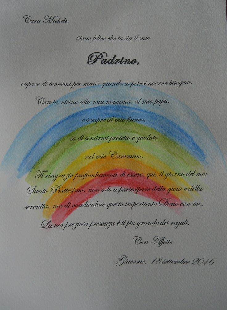 Battesimo arcobaleno pergamena per padrino e madrine