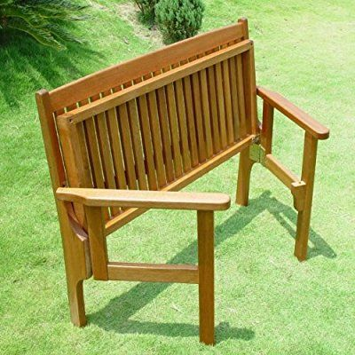 Trueshopping Convenient Folding Foldaway Two Seat Keruing Hardwood Wooden Bench Chair | Garden / Patio Furniture Mahogany Effect 1140mm x 630mm x 900mm