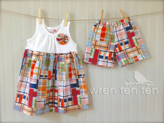 BROTHER SISTER SET girl's tank dress with matching boys shorts in coastal  plaid fabric - sizes - 34 Best Brother/sister Outfits Images On Pinterest Brother