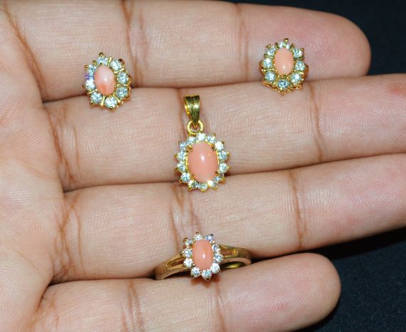 pink coral pink opal pearl Cubic CZ Old Clear by exoticgold