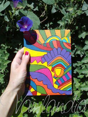 MODELO: Kashmir Cuadernos tamaño A5 (15cm x 21cm) Tapa dura, de cartón pintadas a mano en su integridad con varias capa de barniz para proteger el dibujo. 104 hojas lisas de papel de 80g/m2