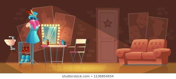 Vector Cartoon Illustration Of Empty Dressing Room Wardrobe With