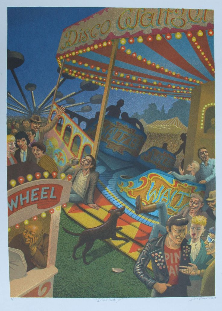 """""""Disco Waltzer"""": Screenprint 42x60cms. I love and fear fairgrounds where dark things take place in the shadows... €85 (only 1 left)"""