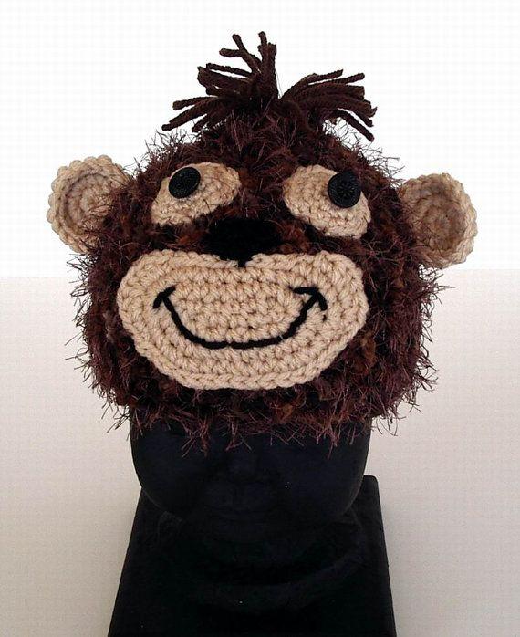 Fuzzy-Affe-Häkelarbeit-Hut-Kind-Baby-Größe Foto von AllKindsofArt