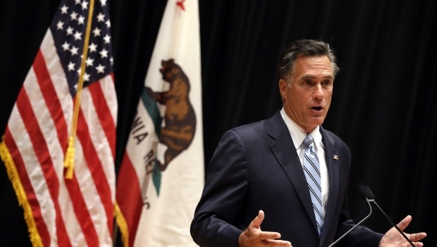 Sept. 18, 2012  Republican presidential candidate and former Massachusetts Gov. Mitt Romney speaks to reporters about the secretly taped video from one of his campaign fundraising events in Costa Mesa, Calif., Monday, Sept. 17, 2012. (Credit: AP Photo/Charles Dharapak)