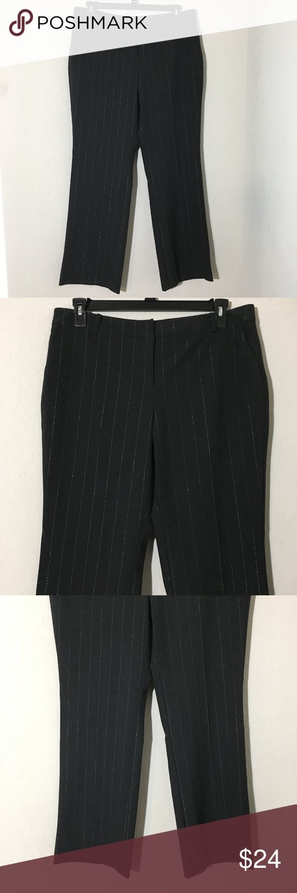"""NY&Co Trouser Dress Pants Black Silver Striped 14 Women's New York & Company black and silver striped trouser dress pants Sz 14 measurements 18"""" waist laying flat, 33"""" inseam Excellent conditions no flaws New York & Company Pants Trousers"""