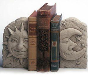 "Cast Stone Celestial, Sun, Moon, Stars - Classic Old World Appearance Bookends Sculpture - Indoor / Outdoor Concrete Statue - Natural Patina Finish by Creative Structures. $53.90. Unique And Whimsical Works Of Art By George At Carruth Studio. Sun Dimensions: 3.5"" W x 6.25"" H x 2.5"" D - Item Weight: 3 Lbs.. Moon Dimensions: 3.5"" W x 6.25"" H x 2"" D - Item Weight: 3 Lbs.. Hand Cast Stone, Weatherproof & Waterproof, Handfinished With A Patina Wash To Accentuate The Details. Use ..."