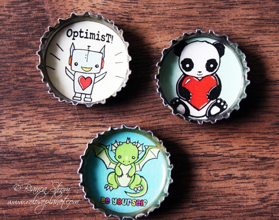 """1"""" Bottle cap Magnet Set - Pick any 3 Designs - Cute by ReLovePlanet, $8.00"""