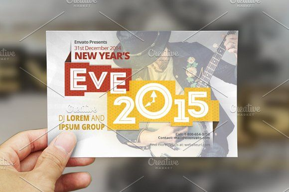 New Year Eve Postcard Template by Sonal on @creativemarket
